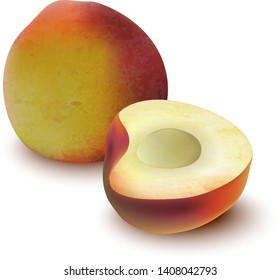 Whole and half of peach isolated on white background