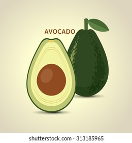 whole and a half vector abstract avocado.