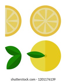 Whole lemon, lemon circle and lemon slice top view vector flat material design isolated on white