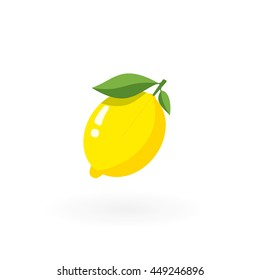 Whole lemon  with leafs isolated on white.