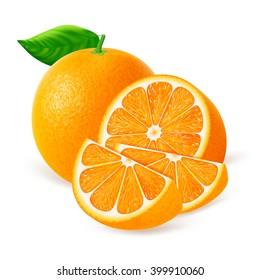 Whole orange fruit with slices isolated on white background. Realistic vector illustration.