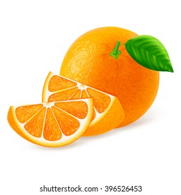 Whole orange with slices isolated on white background. Realistic vector illustration.