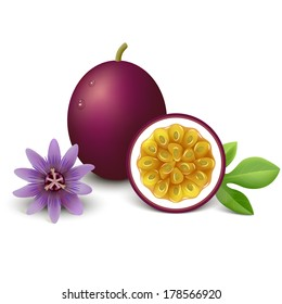 Whole passion fruit with slice, passiflora flower and leaf isolated on white background