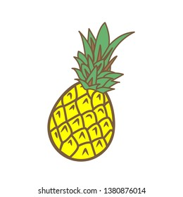 Whole pineapple on white background. Summertime. vitamins. Vector illustration