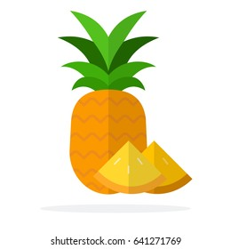 Whole pineapple and pineapple segments vertically vector flat material design isolated on white