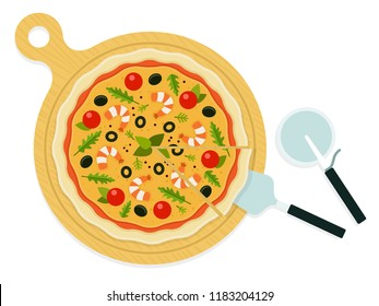 Whole pizza with seafood on a wooden board with a knife and scapula vector flat material design isolated on white