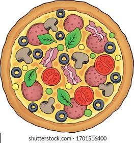 Whole pizza theme image - eps10 vector illustration.