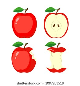 Whole red apple, half apple slice, bitten apple, stub. vector illustration isolated on white background.