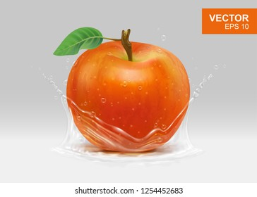 Whole red apple with spray of water realistic 3D design element, mockup. Clipart of whole fruit with leaf and stem illustration