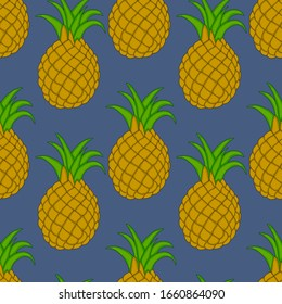 Whole ripe pineapple with leaves on blue background. Colored vector seamless pattern. Cartoon style. Design for fashion prints, posters, cards, fabric, wallpapers, backdrops, panels, pilows.