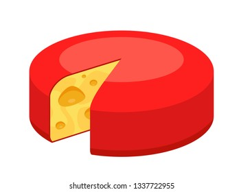 Whole round Cheese icon isolated on white. Vector illustration of Swiss Maasdam in colorful style, symbol for Cheese shops