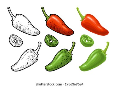 Whole and slice pepper jalapeno. Vector color vintage and monochrome engraving illustration for menu, poster, label. Isolated on white background. Hand drawn design element