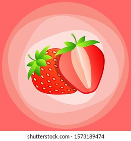 Whole and slice strawberry. Vector color flat illustration for menu, poster. Isolated on white background
