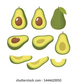 Whole and sliced fresh avocado vector set illustration
