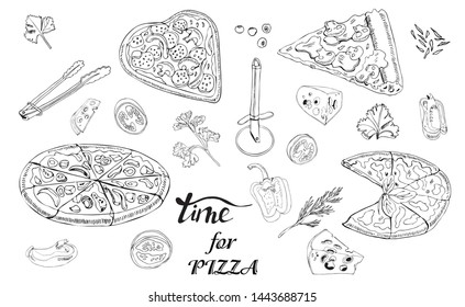 Whole and sliced  pizza, different vegetables and items for pizza. Hand drawn ink sketch. Slice of Pepperoni, Margherita,  Mushroom.  Perfect for leaflets, cards, posters, prints, menu, booklets.