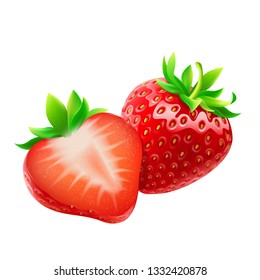 Whole strawberry and sliced half strawberry.  Fresh red ripe mellow berry on white background. Realistic 3d isolated vector illustration