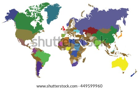 Whole World Map Stock Vector (Royalty Free) 449599960 - Shutterstock