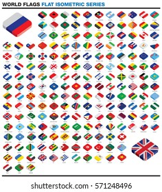 Whole worlds flags drawn as vectors in an flat modern style