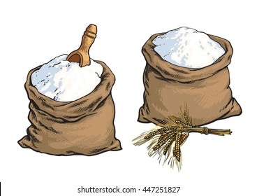 Wholemeal bread flour bags with wooden scoop and wheat ears, sketch style vector illustration isolated on white background. Set of two wheat bread flour sacks