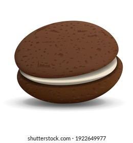 Whoopie Pie Realistic vector dessert illustration isolated on white background