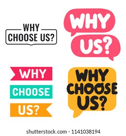 Why choose us? Set of badges, icons. Vector illustrations on white background.