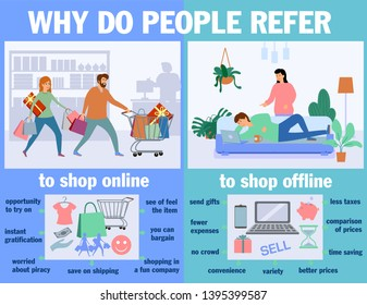 Why do people refer to shop online or offline. Infographics. Online and offline shopping. Shop on site and shop in real life.  Vector flat illustration. Pros of shopping online.