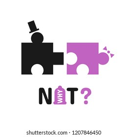 Why not? - Funny motivation poster with black  hearts puzzle  man and woman have sex. idea for banner happy valentine day with pink condom. Phrase for poster