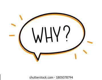 Why question inscription. Handwritten lettering illustration. Black vector text in speech bubble. Simple outline marker