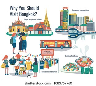 Why should visit bangkok  doodle infographic with temple, palace, transportation, weekend market, and thai foods, all on white background, illustration, vector