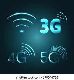Wi Fi, 3G, 4G and 5G technology glow icon symbols