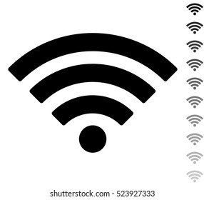 Wi fi - black vector icon and ten icons in  shades of grey