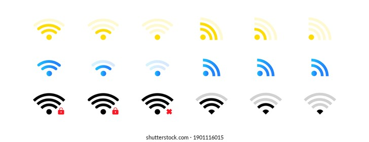 Wi fi icons set. WiFi zone sign. Wireless connection. Remote access and radio waves. Vector EPS 10. Isolated on white background