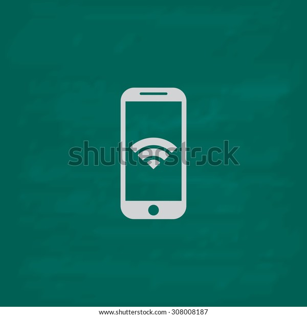 Wi fi on your smartphone. Icon. Imitation draw with white chalk on green chalkboard. Flat Pictogram and School board background. Vector illustration symbol