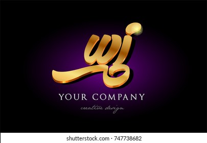 wi w i alphabet combination letter logo in gold golden 3d metal beautiful typography suitable for banner brochure design