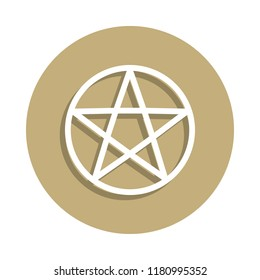 Wicca Pentagram sign icon in badge style. One of religion symbol collection icon can be used for UI, UX on white background