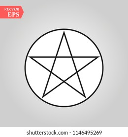 Wicca Pentagram sign icon. Element of religion sign icon for mobile concept and web apps. eps10