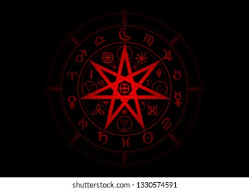 Wiccan symbol of protection. 3D Red Mandala Witches runes and alphabet, Mystic Wicca divination. Ancient occult symbols, Earth Zodiac Wheel of the Year Wicca Astrological signs, Heptagram Star vector