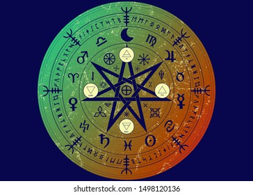 Wiccan symbol of protection. Mandala Witches runes, Mystic Wicca divination. Ancient occult symbols, Earth Zodiac Wheel of the Year Wicca Astrological signs, vector isolated or blue background