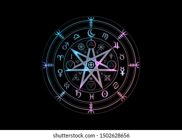 Wiccan symbol of protection. Mandala Witches runes, Mystic Wicca divination. Ancient occult symbols, Earth Zodiac Wheel of the Year Wicca Astrological signs, vector isolated light neon on black