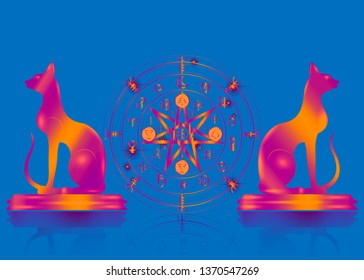 Wiccan symbol of protection. Set of psychedelic Mandala Witches runes and cats, Mystic Wicca divination. Old colorful Ancient occult symbols, Earth Zodiac Wheel of the Year Wicca Astrological signs