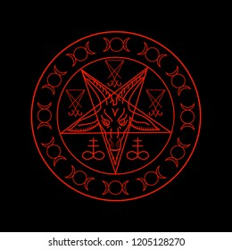 Wiccan symbols- Cross of Sulfur, Triple Goddess, Sigil of Baphomet and Lucifer