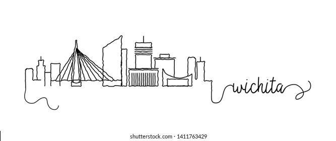 Wichita City Skyline Doodle Sign