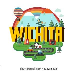 Wichita destination brand logo. vector cartoon