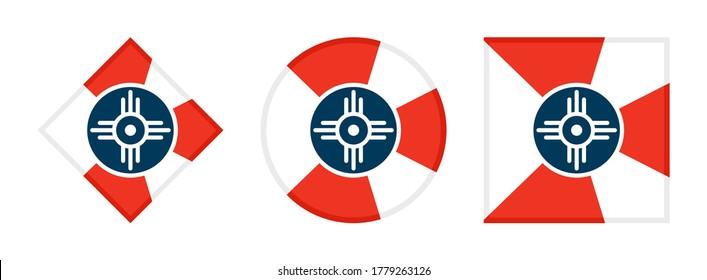 wichita flag icon set, isolated on white background