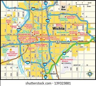 Wichita, Kansas area map