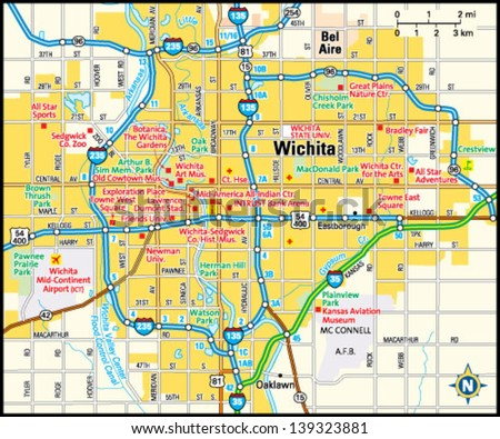Wichita Kansas Area Map Stock Vector Royalty Free 139323881