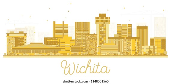 Wichita Kansas City Skyline Golden Silhouette. Vector illustration. Simple flat concept for tourism presentation, banner, placard or web site. Business travel concept. Wichita Cityscape with landmarks