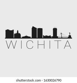 Wichita Kansas City. Skyline Silhouette City. Design Vector. Famous Monuments Tourism Travel. Buildings Tour Landmark.