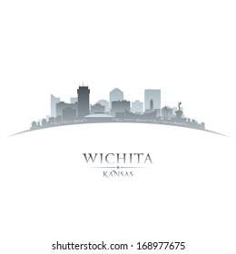 Wichita Kansas city skyline silhouette. Vector illustration