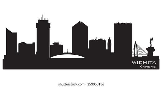Wichita Kansas skyline Detailed vector silhouette